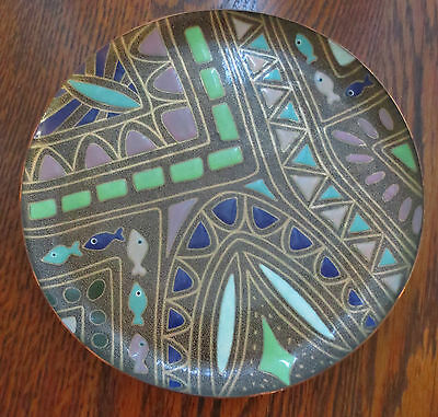 """Manuel Pineda Mexico Mid Century Modern Abstract Enamel On Copper Dish 7 5/8"""""""