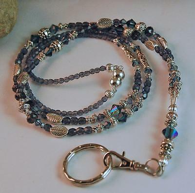 DENIM BLUE BADGE HOLDER LANYARD made w SWAROVSKI CRYSTALS Tibetan Silver BH1047