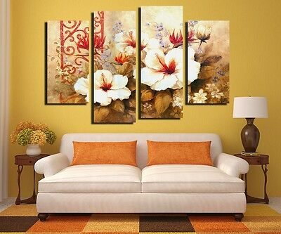 4 Panels Wall Painting White Flower Home Decor Wall Art Picture Canvas Prints
