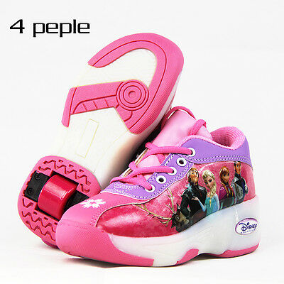 Disney Frozen LIGHTING Kids Roller Skate Shoes Sneakers Girls Elsa Anna Pink