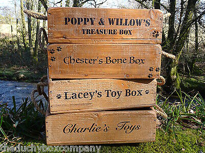 New Dog Cat Wooden Toy Box High Quality FREE PERSONALISATION! & PAW PRINTS!