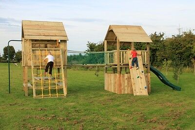 Single Double Wooden Climbing Frame Two Tower Heavy Duty Jungle Gym OVER 50 SOLD