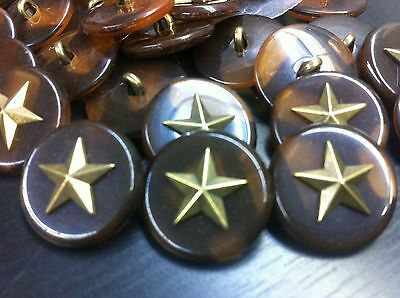 50 pcs INCREDIBLE!! Military Star Button w/Imm BrownTortoise Shell  23/mm