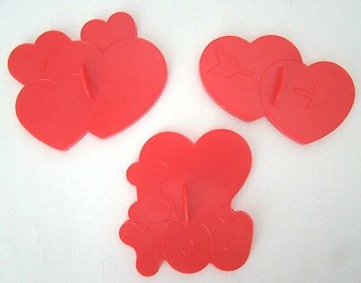 Wilton Vintage Heart Cookie Cutters Lot of 3 Valentine's I Love You 1990