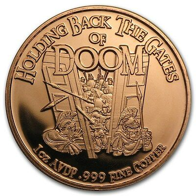 Gates Of Doom 1 oz .999 Copper BU Round USA Made American Bullion Coin