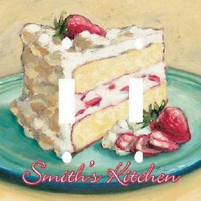 Personalized Slice Of Strawberry Cake Kitchen Light Switch Plate Cover