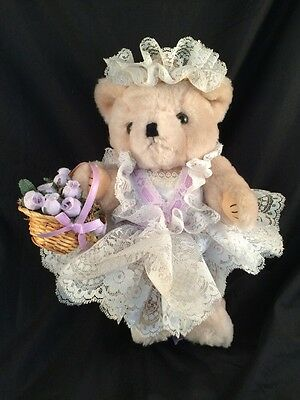 """Vintage Jointed Bear Dressed In lace handmade dress 11"""""""