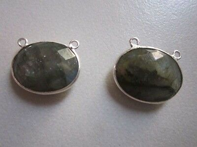 NATURAL LABRADORITE OVAL  CONNECTORS 2 LOOP STERLING SILVER  PLATED  2PCS 15X19M