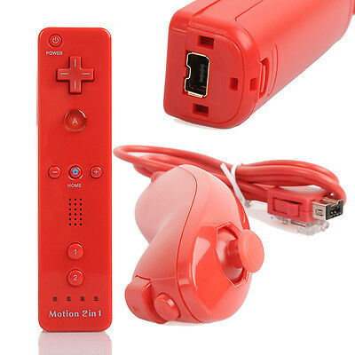 2016 Red FOR Nintendo Wii U WII Controller Motion Plus Remote+ Nunchuck+Case AU