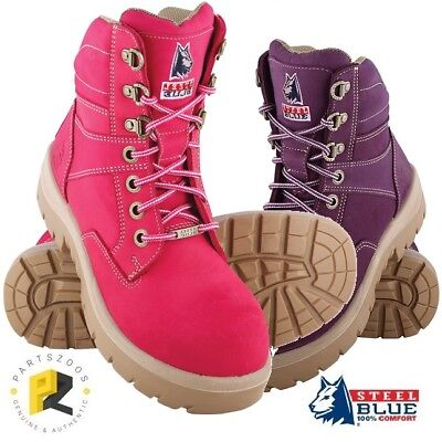 Steel Blue Southern Cross Ladies Pink Purple Safety Toe Cap Work Boots 522760