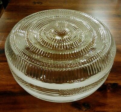 "10"" Vintage 40s 50s & 60s Style, Ceiling Fixture White stripped Glass only."