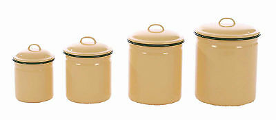 "ENAMELWARE CANISTER SET-SET OF 4, BUTTER YELLOW-LARGE IS 8.5""H"