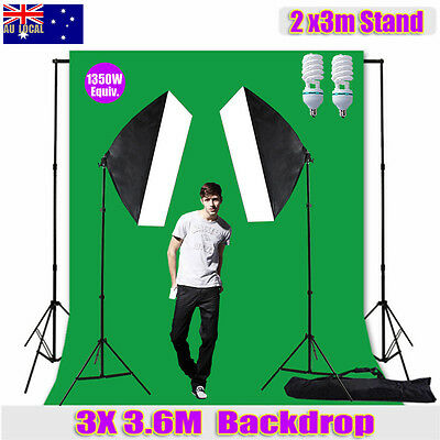 Photography 3x3.6M Green Screen Backdrop Studio Softbox Lighting Light Stand Kit