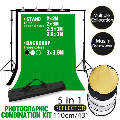 Photography Black White Green Screen Backdrop Studio Video Background Stand set
