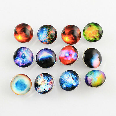 12pcs Mixed Color Platinum Brass Glass Dome Buttons Flat Round Sky Snap Button