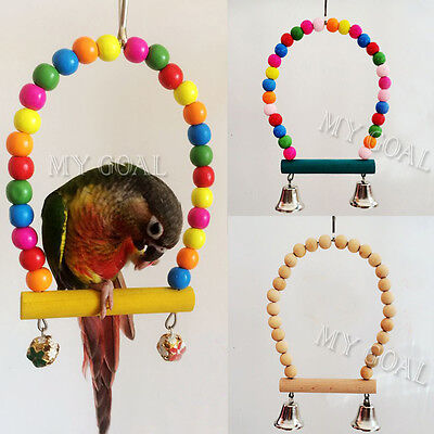 Parrot Swing With Bell Bird Toy Cage Finch Parakeet Cockatiel Lovebird Budgie