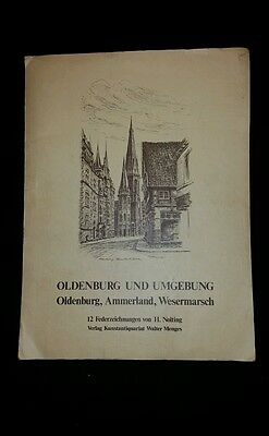 Set of 12 Vintage Etchings by H Nolting Germany Oldenburg and Umgeburg Nise Rare