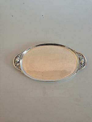 Georg Jensen Sterling Silver Blossom Serving Tray #2H. Measures 35,8cm x 20,5cm