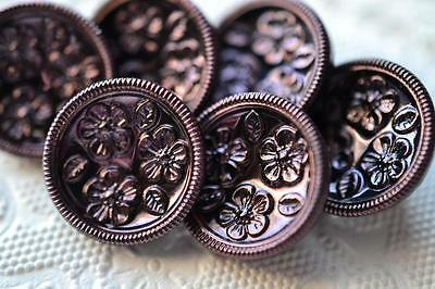 "496 - GORGEOUS SET VINTAGE CZECH OLD GLASS 3/4"" TINTED BLACK GLASS BUTTONS"