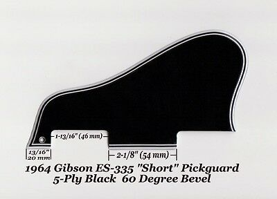 ES-335 SHORT 1964 Pickguard 5-Ply Blk 60 Deg W/Mount for Gibson Guitar Project