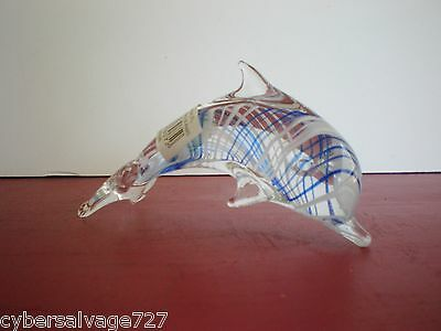 """All Glass Dolphin Sculpture 5"""" Blown Glass Art Imported By LS Arts List A"""