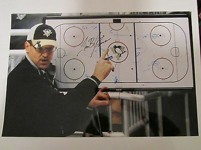 DAN BYLSMA  AUTOGRAPH 09 CHAMPS GLOSSY 12x18 photo PITTSBURGH PENGUINS signed