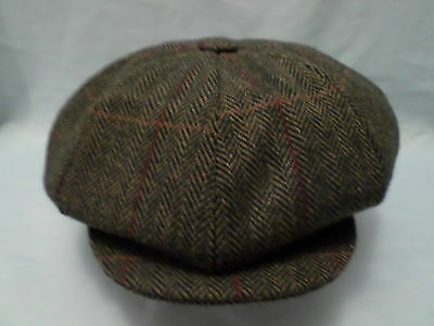 "Wool Full Fitting 12"" Big Apple 8 Panel Newsboy Baker Boy Cap  Made In Britain"