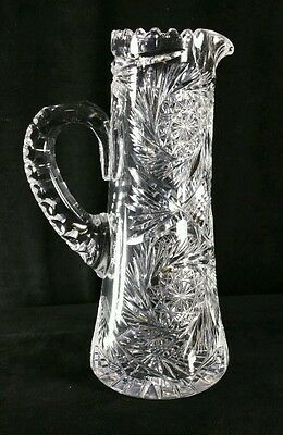 """ABP Pitcher, Tall Tankard Style, 11 3/8"""", Spiral Hobstar, Fans - Antique - NICE"""
