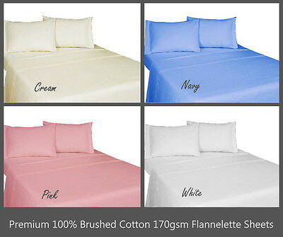 SOFT ALL NATURAL 100% BRUSHED COTTON FLANNEL SHEETS Single, Double, King, S.King