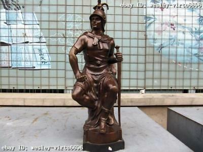"24""Western Cultural Fine Art Pure Bronze general knight base Marble statue"