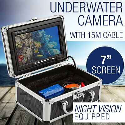 "7""HD Underwater Fishing Video Camera Fish Finder Night Vision w/ Case"