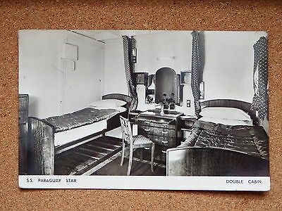R&L Postcard: SS Paraguay Star, Blue Star Line, Double Cabin Interior