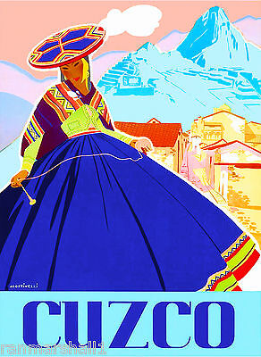 Peru Incas Machu Picchu Cusco South America Vintage Travel Poster Advertisement