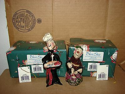 Lot of 2 used 2001 Blue Sky Clayworks Ornaments Brother Bernard & Father Francis