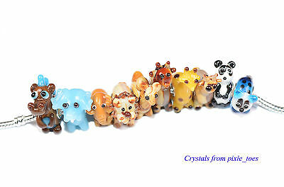 Handmade Murano Glass Lampwork Wild Animals Charm Bead, Big Hole European Style