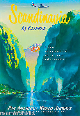 Sweden Oslo Helsinki Swedish Stockholm Scandinavia Travel Poster Advertisement
