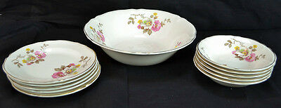 Lot of 11 Vintage Knowles China 1 Vegetable Bowl 5 Bread Plates 5 Fruit Bowls
