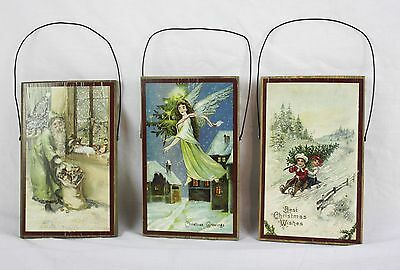 Lot of 3 Christmas Themed Wall Hanging Plaques Father Santa Best Wishes Fairy