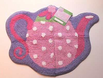 Just For Bath Tea Party Pink & Purple Teapot Rug Mat for Girl's Bathroom NEW