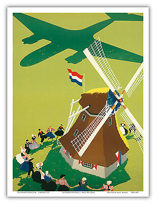 Holland Windmill Vintage Royal Dutch Airlines KLM Art Poster Print