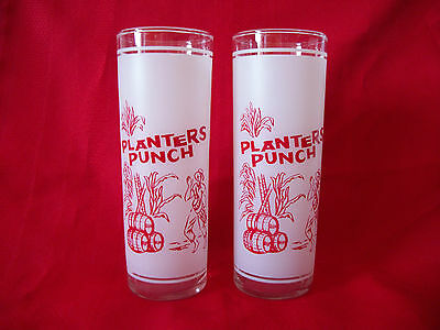 FEDERAL PLANTERS PUNCH 2 Frosted Glasses New Old Stock Mid-Century Bar Multiples