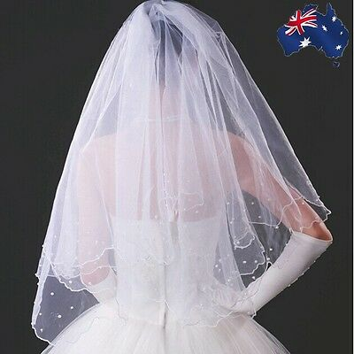 1.35m Women Lady White Wedding Bride bridal One Layer Hair Head Veil CVEIL1501