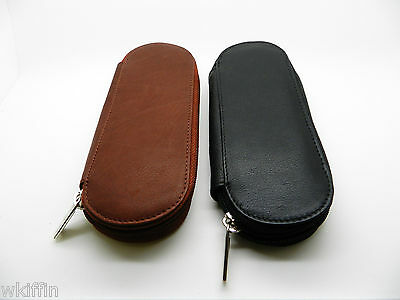 Double Zippered Fountain Pen Case Leather Antique Brown