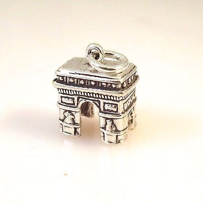 .925 Sterling Silver 3-D ARC DE TRIOMPHE Paris France CHARM Pendant NEW 925 TR50