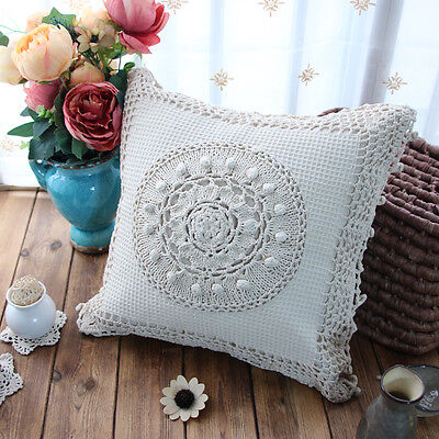 Vintage Style Hand Crochet Insertion Chic Border Beige Cotton Cushion Cover