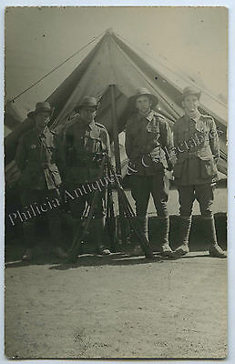 C.1915 WW1 RP POSTCARD AUSTRALIAN SOLDIERS IN CAMP WITH 303 RIFLES k13