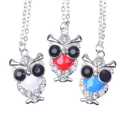 3 Colors Chic Beauty Silver Pld Crystal Big Eyes Lovely Owl Women Necklace Gift