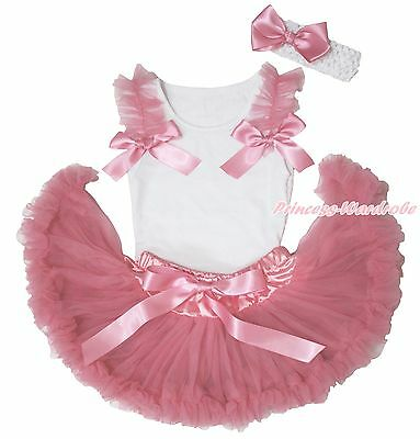 White Top Shirt Dusty Pink Ruffle Bow Newborn Baby Girl Skirt Pettiskirt 3-12M