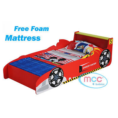 MCC Toddler Bed Cars Speed Kids Junior Bed with Luxury Foam Mattress Made in UK
