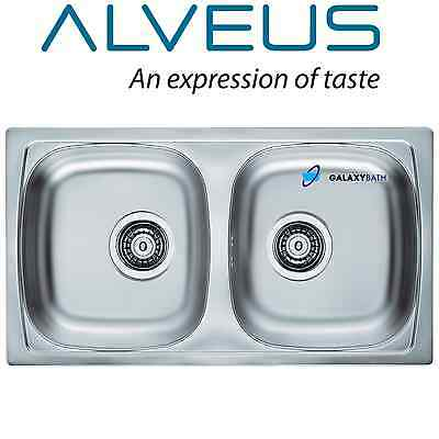 Alveus Double Square 2.0 Bowl Stainless Steel Linen Kitchen Sink & Plumbing Kit